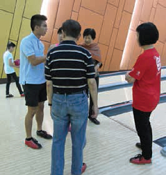 Bowling activity with the senior participants